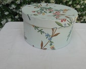 Pale green with flowers hat box, wallpaper box, 19th century repro