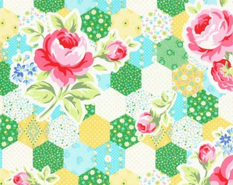 SALE Yellow and green Hexagon cheater print from Flower Sugar Spring 2015 by Lecien of Japan 31128L-50