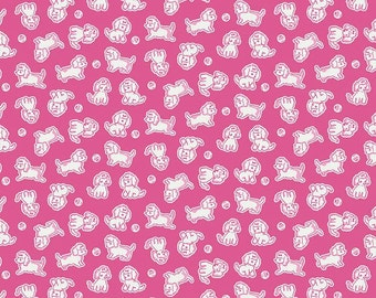 SALE Biscuit poodle in hotpink from the Strawberry Biscuit fabric collection by Elea Lutz for Penny Rose