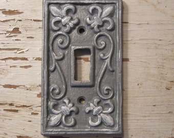 1 Gray and White Light Switch Cover Fleur De Lis Scrolled Decorative Cast Iron Accented in White with Matching Screws H-10