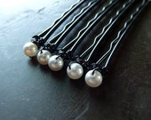4mm White Swarovski Pearl Bobby Pins - Set of 5
