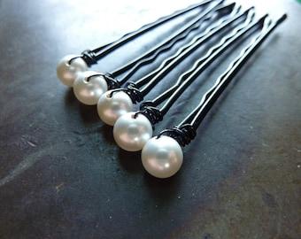 6mm White Swarovski Pearl Bobby Pins - Set of 5