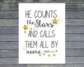 He Counts the Stars and Calls Them All By Name Print INSTANT DOWNLOAD