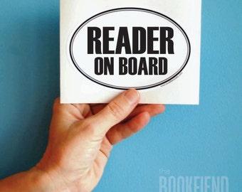 reader on board oval decal bumper sticker