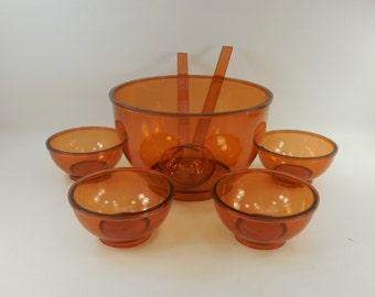 Dansk Designs Denmark - Gunnar Cyren 70s - Amber Orange Salad Fruit 5 Bowl Set - Plastic Melamine