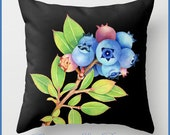 Maine Blueberries throw pillow cushion home decor watercolour design by Maine artist Patricia Shea