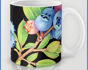 Maine Blueberries coffee tea mug kitchen decor watercolour illustration design by Maine artist Patricia Shea