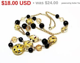Glass Foil Bead Necklace - Black and gold tone Polkadots Retro Chain - Vintage Design