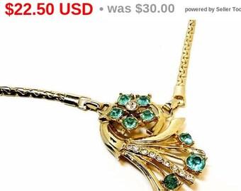 Vintage Rhinestone Necklace - Turquoise & Gold 1950's 1960's Era