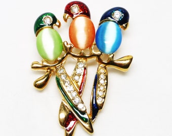 Three Birds on a Branch Brooch - Modern Figural Enamel Bird Pin - Moonglow Bellies in Green, Red and Blue with Rhinestones