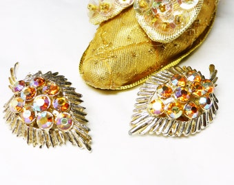 BSK Leaf Earrings - Clip on Earrings with Aurora Borealis Rhinestones - AB Rhinestone Leaves - Designer Signed
