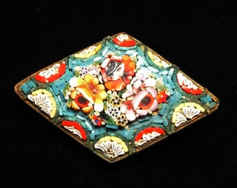 Mosaic Floral Brooch - Signed Made in Italy - Diamond Shaped Pin - Vintage 1950's Era European Jewelry