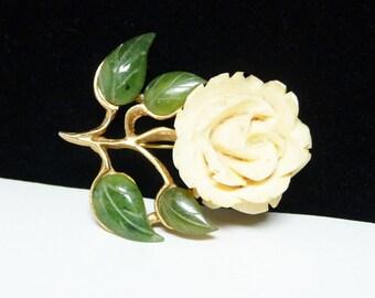 Carved Flower Brooch with Jade Leaves - Vintage 1950's - 1960's Mid Century