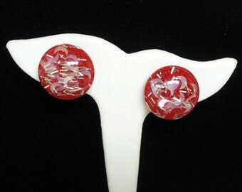 Vintage Red Lucite Earrings - Clip on Glitter - Sliver of Moon  - 1950's Mid Century Modern
