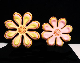 Mod Flower Brooch - Fun Styrofoam Late 1960's - Early 1970's Mad Mod Rowan & Martain Era Chunky Pin in Pink, Red and Yellow