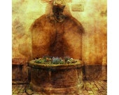 Fine Art Sepia Photography of Old Well and Flowers in Alsace France - Vintage Style Print