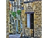 Fine Art Digital Print on Watercolor Paper of a Lonely Lane in Sarlat