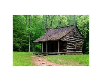 Fine Art Color Appalachian Landscape Photography of a Log Cabin in the Smoky Mountains