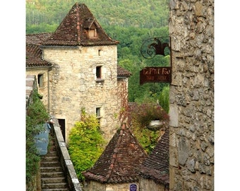 """Fine Art Color Photography of Medieval French Village - """"St. Cirq View and Distant Hills"""""""