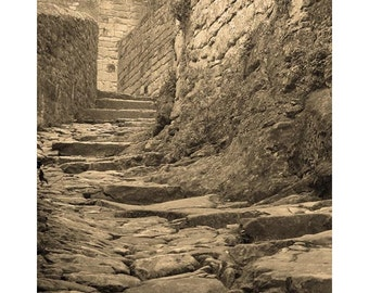 "Fine Art Sepia Photography of Medieval French Village - ""Climbing the Steps of Beynac"""