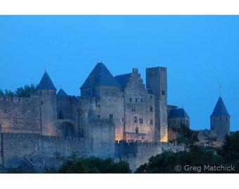 "Fine Art Color Landscape Photography of French Castle - ""Carcassonne at Twilight"" (France)"