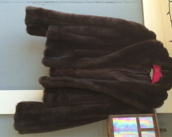 Faux Fur Coat Rich Brown Fur Jacket / Tre Chic / Evening Wear / PROM / Wedding / LUX Coat Hip Hop