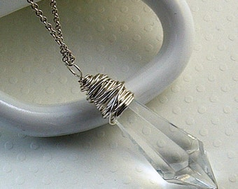 Crystal Jewelry, Icicle Jewelry, Crystal Necklace, Clear Crystal Necklace, Icicle Drop Necklace, Gift For Her, Clear Necklace