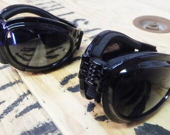 Black Folding Goggles - Comfy Cushioned Playa Safe 'Fold Up' Riding Goggles-Burning Man Ready