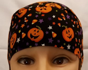 Handmade Chemo Cap, Skull Cap, Black w Pumpkins and Candy Corn, Hat, Hair Loss, Bald, Helmet Liner, Do Rag, Motorcycle, Alopecia, Surgical