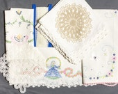 Destash 11 pieces Battenburg lace doily  Crocheted doily, Lingerie lace Table runner, table cloth and 4 napkins, Two embroidered Pillowcases