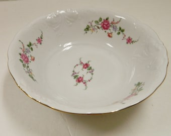 Royal Kent Poland RKT3 Serving Vegetable Bowl Gold Edge Bavarian Rose Embossed