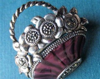 Vintage Judith Jack Sterling Silver And Enamel Marcasite Flower Basket Pin Brooch Jewelry
