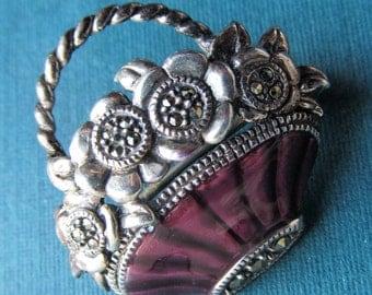 Vintage Judith Jack Sterling Silver And Enamel Marcasite Flower Basket Pin Brooch Jewelry