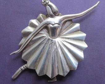 Mexico Sterling Ballerina  Brooch Vintage 925 Mexican Silver Pin