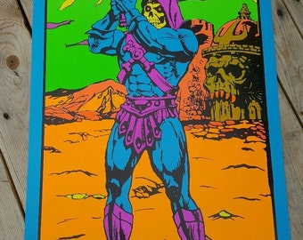 Masters of the Universe Skeletor Black Light Third Eye Tribute Poster