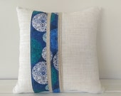 Cushion Cover: Blue and Linen