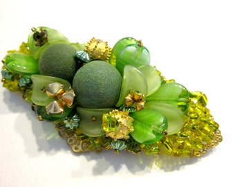"Vintage Designer Brooch Unsigned Miriam Haskell Huge 3 5/8"" Glass Beaded Brooch Collector's Designer Pin Vintage Bead Green Glass Jewelry"