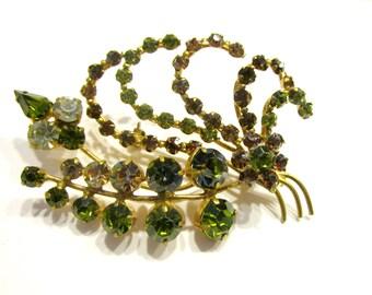 "Vintage Rhinestone Brooch Austria Austrian Crystal 3"" Pin Gift for Mom Gift for Her Bird Spray Brooch Green Gold Vintage Jewelry Brooch"