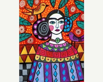 Marked Down 50% - Mexican Folk art Art Print Poster by Heather Galler Frida Kahlo