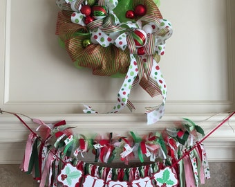 Christmas Photo Prop for Little Girl - Christmas Oufit and Banner Set - Holiday Child Photo Shoot Outfit - Christmas Outfit for Girls -