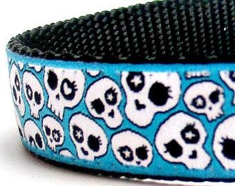 Skulls in Teal Blue Dog Collar, Rockstar Pet Collar, Adjustable Ribbon Dog Collar, Sugar Skulls