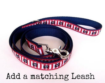 Ribbon Dog Leash, Matching Pet Lead, 5/8 inch to 1 inch width,  Pick Your Length 3, 4, 5, 6 feet