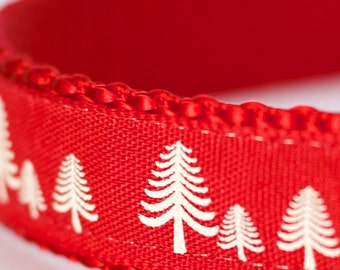 Red Winter Forest Dog Collar, Christmas Tree Pet Collar, Holiday, Pine Tree