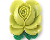 Pistachio Large Vintage Rose Brooch Resin Handmade