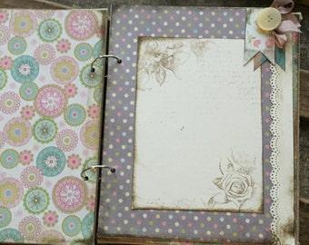 Boho Handmade Baby Girl Book, Baby Album  - Rustic Baby Girl - Cottage Chic Baby