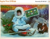 50% OFF Vintage USSR New Years greeting card, unused from 1972, S Novym Godom, doll girl, dog, sledge, Christmas tree