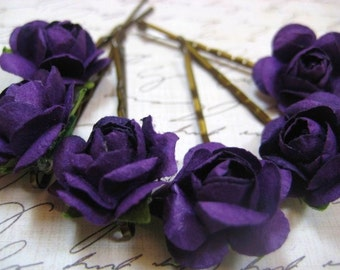 Deep Purple Rose hair pins