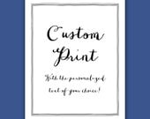 Custom Print, Typography Personalized Gift, Calligraphy Font