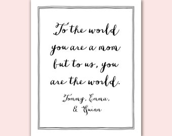 Mom Personalized Gift Print, Mother's Day, calligraphy
