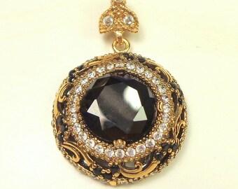 SALE, Sterling Silver, Vintage, Antique Finish Hematite and Topaz Pendent, 13 grams, Natural Gemstone, Vintage Treasure